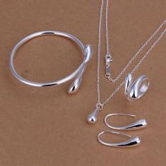Lant cu bratara cercei si inel set bijuterii placat argint 925 transport gratuit