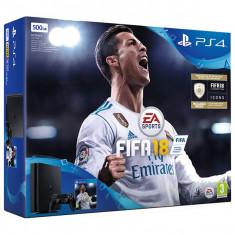 Consola SONY PlayStation 4 Slim 500GB, negru + FIFA 18 - Consola PlayStation