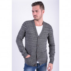 Cardigan Selected Outfitters Nation Ashton Mid Grey Melange - Pulover barbati Selected, Marime: S, L, Culoare: Gri, Acril