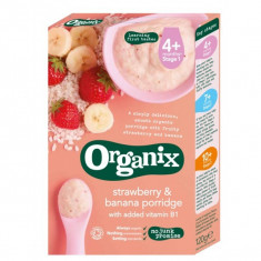 Cereale bebelusi Organix orez porumb banane capsuni, fara lapte, de la 6 luni - Cereale copii