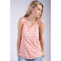 Maieu Only Onladdison Sl Top Whisper White / Stripes Fushion Coral - Tricou dama Only, Marime: S, Culoare: Roz