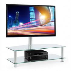 ELECTRONIC-STAR FAVS19, masă tv cu suport, 37-50 inci, 2 rafturi din sticlă, culoare argintie - Masa living