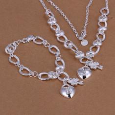 Lant si bratara lacatel set bijuterii placat argint 925 transport gratuit - Set bijuterii argint