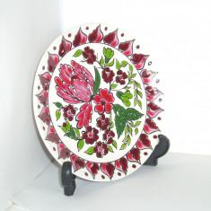 Farfurie aplica ceramica cloisonne, hand made - marcaj Clarisse Keramik Kos - Portelan, Farfurii