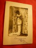 Ilustrata -Fotografie Femeie dupa paravan - Commercy ,circ. la Craiova ,spic de, Circulata