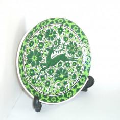 Farfurie ceramica cloisonne, hand made - Cerb - marcata Nassos Rodos Hellas - Arta Ceramica