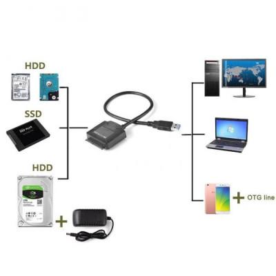 Adaptor USB 3.0 la SATA pentru HDD 2.5 3.5 inch cu mufa alimentare foto