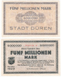 (1) BANCNOTA (NOTGELD) GERMANIA - DUREN - 5 MILLIONEN MARK 1923 (8 AUGUST 1923)