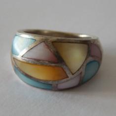 Inel argint vintage cu sidef multicolor -1775