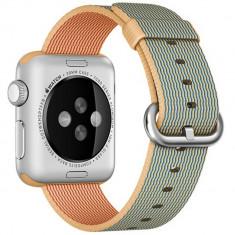 Curea pentru Apple Watch 38 mm iUni Woven Strap, Nylon, Gold Gray - Curea ceas cauciuc