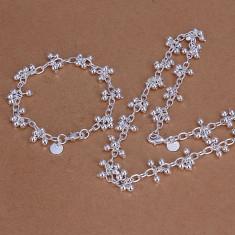Lant cu bratara set bijuterii grape placat argint 925 transport gratuit - Set bijuterii argint