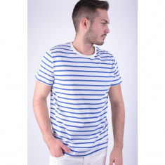 Tricou Jack&Jones Jjco Table Tee Ss Stripe Regular Fit White / True Blue - Tricou barbati, Marime: L, Culoare: Alb