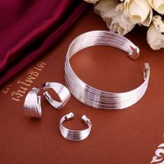 Bratara cercei si inel set bijuterii placat argint 925 transport gratuit - Set bijuterii argint