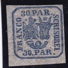 ROMANIA 1864 LP 13 PRINCIPATELE UNITE EM II 30 PAR. ALBASTRU POINCON L.PASCANU - Timbre Romania, Nestampilat