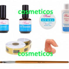 Mini Kit unghii false: Primer,Topcoat,Gel,Cleanser,Sabloane,Pensula,Deget, Sina