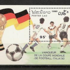 Laos.1991 Germania campioana mondiala la fotbal-Bl.  SL.482, Nestampilat