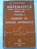 Matematică, Manual ptr. clasa XII-a, Elemente de Analiză Matematică