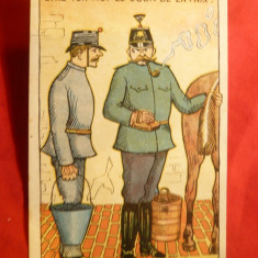 Ilustrata comica militara - Soldati si cal ,semnat A.Closuit 1918