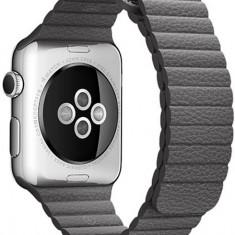 Curea piele pentru Apple Watch 38 mm iUni Dark Gray Leather Loop - Curea ceas cauciuc