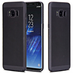 Husa Samsung Galaxy S6 Edge Plus Perforata Neagra, Negru, Plastic