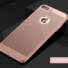 Husa iPhone 7 Plus 8 Plus Perforata Rose Gold - Husa Telefon Apple, iPhone 7/8, Roz, Plastic, Fara snur, Carcasa