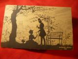 Ilustrata -Desen pe negativ - Scena romantica ,semnat W.Gabel -Berlin 1918