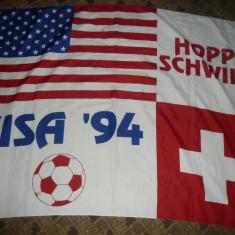 Steag al SUA si Elvetiei la Campionatele Mondiale Fotbal 1994, dim.= 134x97 cm - Steag fotbal