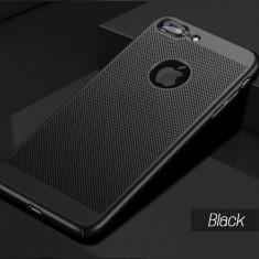 Husa iPhone 7 Plus 8 Plus Perforata Black - Husa Telefon Apple, iPhone 7/8, Negru, Plastic, Fara snur, Carcasa