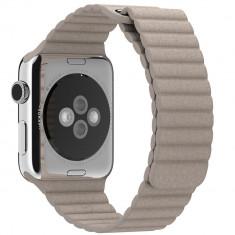 Curea piele pentru Apple Watch 42 mm iUni Kaki Leather Loop - Curea ceas cauciuc