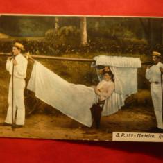 Ilustrata Madeira cca.1900 - Femeie purtata cu hamacul -Portugalia, Necirculata, Printata
