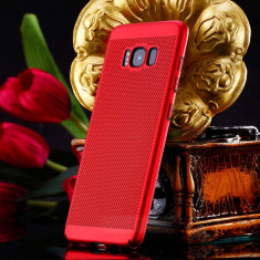 Husa Samsung Galaxy S6 Edge Plus Perforata Rosie, Rosu, Plastic