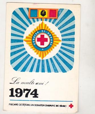 bnk cld Calendar de buzunar 1974 - Crucea Rosie RSR foto