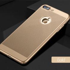 Husa iPhone 7 8 Perforata Gold - Husa Telefon Apple, Auriu, Plastic, Fara snur, Carcasa