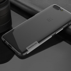 Husa OnePlus 5 TPU Nature Transparenta by Nillkin - Husa Telefon OnePlus, Universala, Negru, Plastic, Fara snur, Carcasa