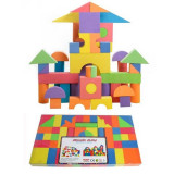Jucarie cuburi din burete colorat non toxic 60 piese - Set de constructie