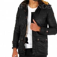 Geaca iarna neagra - geaca barbati - geaca slim fit COLECTIE NOUA 9256 N2, Marime: S, M, L, XL, Culoare: Din imagine