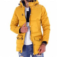 Geaca iarna mustar - geaca barbati - geaca slim fit COLECTIE NOUA 9255 L4, Marime: S, M, L, XL, Culoare: Din imagine