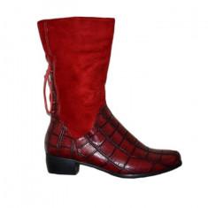 Cizme de dama din velur si croco, culoare rosie (Culoare: ROSU, Marime: 40) - Cizma dama