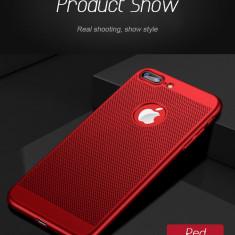 Husa iPhone 7 8 Perforata Rosie - Husa Telefon Apple, Rosu, Plastic, Fara snur, Carcasa