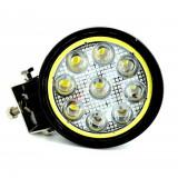 Proiector LED CH07-02 rotund 27W cu angel eyes Spot Beam 30° 12/24V - Proiectoare tuning, Universal