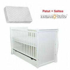 Patut multifunctional Regal + Saltea Cadou White Mamo-Tato - Patut lemn pentru bebelusi