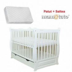 Patut multifunctional Eva Clasic + Saltea Cadou White Mamo-Tato - Patut lemn pentru bebelusi