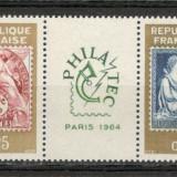 Franta.1964 Expozitia filatelica PHILATEC-streif SF.81 - Timbre straine, Nestampilat