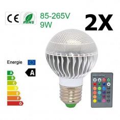 Oferta Bec LED 9W E27 RGB cu telecomanda CG007 Conţinutul pachetului 2x, Becuri inteligente