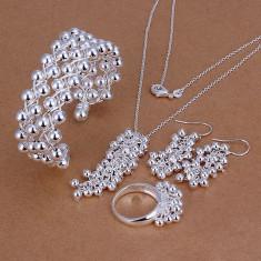 Set bijuterii placat argint 925 inel+cercei dama +lant+pandantiv poze reale