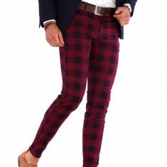 Pantaloni rosi eleganti carouri  - pantaloni barbati - 9285 B1-7, Din imagine