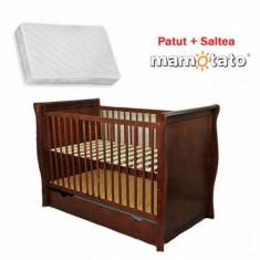 Patut multifunctional Regal + Saltea Cadou Venghe Mamo-Tato - Patut lemn pentru bebelusi
