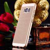 Husa Samsung Galaxy J7 2017 Perforata Gold, Alt model telefon Samsung, Auriu, Plastic