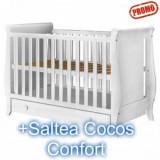 Patut copii din lemn Mira alb cu sertar+ Saltea 8Cm - Patut lemn pentru bebelusi Hubners
