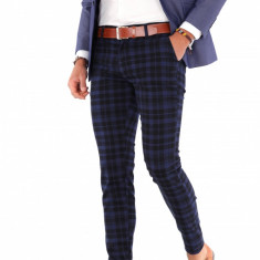 Pantaloni bleumarin eleganti carouri - pantaloni barbati - 9283, Marime: 29, 30, 31, 32, 33, 34, 36, Culoare: Din imagine